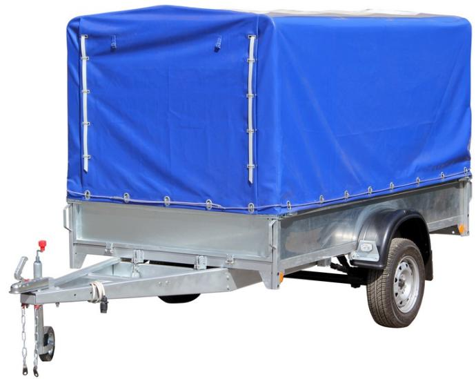 Прицеп  для перевозки квадрациклов, оцинкованные борта и рама, г/п 520 кг, с тент-каркасом с опорным колесом, передний и задний борт откидные, функция самосвал, внутр. разм: 2600х1460х380- высота борта, с тент-каркасом высотой 620 мм, высота от пола